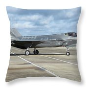 A U.s. Air Force F-35a Taxiing At Eglin Throw Pillow