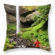 A Woman Admires Latourel Falls On June Throw Pillow