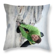 A Woman Climbs The Line 5.9 At Lovers Throw Pillow