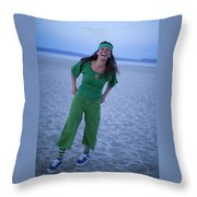 A Woman Having Fun On The Cracked Earth Throw Pillow