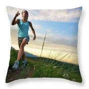 A Woman Trail Running Near Boulder, Co Throw Pillow