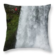 A Woman Trail Running Throw Pillow