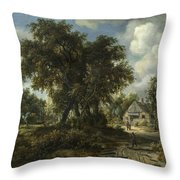 A Woody Landscape Throw Pillow