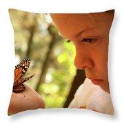 A Young Boy Holds A Stick Throw Pillow