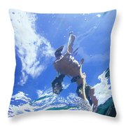 A Young Man Stand-up Paddleboards Throw Pillow