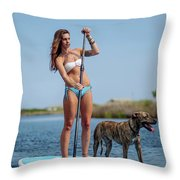 A Young Woman And Her Dog Sup Throw Pillow