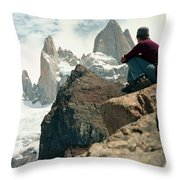A Young Woman Gazes At Cerro Fitzroy Throw Pillow