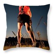 A Young Woman Runs Through A Grassy Throw Pillow