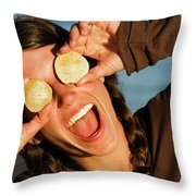 A Young Woman Smiles And Sticks Throw Pillow