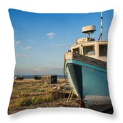 Abandoned Fishing Boat Digital Painting Throw Pillow by Matthew Gibson