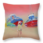 Abandoned Fishing Boats Tavira Throw Pillow