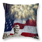 Abraham Lincoln Fireworks Throw Pillow