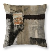 Abstract Japanese Collage Throw Pillow