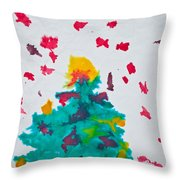 Abstract Kid's Painting Of Christmas Tree With Gifts Throw Pillow