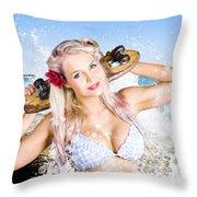 Active Sexy Summer Beach Babe With Skateboard Throw Pillow