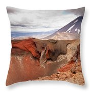 Active Volcanoe Cone Of Mt Ngauruhoe New Zealand Throw Pillow