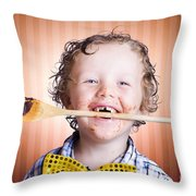 Adorable Little Boy Cooking Chocolate Easter Cake Throw Pillow