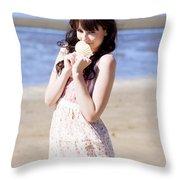 Adorable Seaside Girl Throw Pillow