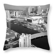 Aerial Of Downtown Tampa And Harbour Island Throw Pillow