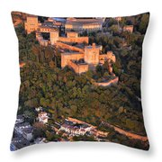 Aerial Photo  Alhambra And Albaycin In Granada Throw Pillow