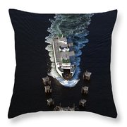 Aerial View Of Passenger Ferry Boat Going To Southworth Puget So Throw Pillow
