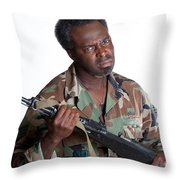 African American Man With Gun Throw Pillow