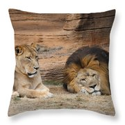 African Lion Couple 3 Throw Pillow