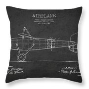 Airplane Patent Drawing From 1918 Throw Pillow