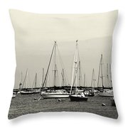 All Aboard Bw Throw Pillow