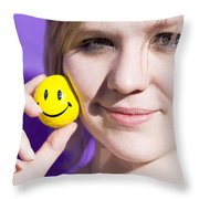 All Smiling Woman Throw Pillow