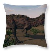 Alluring Majungasaurus In Swamp Throw Pillow