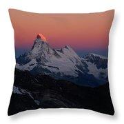 Alpenglow On The Matterhorn And Dent Throw Pillow