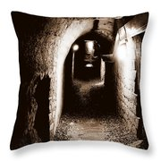 A Tunnel In The Catacombs Of Paris France Throw Pillow
