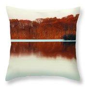 Amber Autumn Lake Throw Pillow
