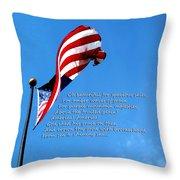 America The Beautiful - Us Flag By Sharon Cummings Song Lyrics Throw Pillow