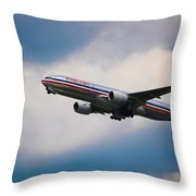 American Airlines Boeing 777 Throw Pillow
