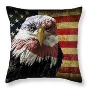 American Bald Eagle On Grunge Flag Throw Pillow