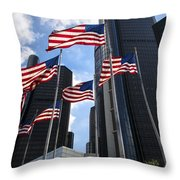 American Flags In Front Of The Detroit Renaissance Center Throw Pillow