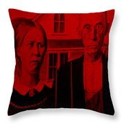 American Gothic In Red Throw Pillow