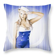 American Pinup Poster Girl In Military Uniform Throw Pillow