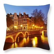 Amsterdam - Old Houses At The Keizersgracht In The Evening Throw Pillow