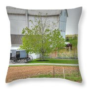 An Amish Farm Throw Pillow by Dyle   Warren
