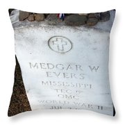Medgar Evers -- An Assassinated Veteran Throw Pillow