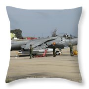 An Av-8b Harrier II Of The Spanish Navy Throw Pillow