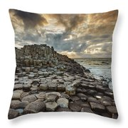 An Evening View Of The Giants Causeway Throw Pillow