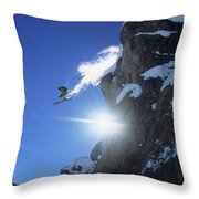 An Extreme Skier Jumps Off A Snowy Throw Pillow