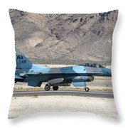 An F-16c Aggressor Jet Landing Throw Pillow