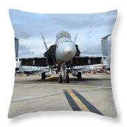 An Fa-18d Hornet On The Ramp At Marine Throw Pillow