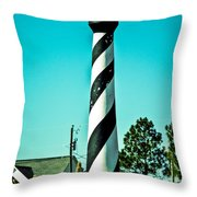 An Image Of Lighthouse In Small Town Throw Pillow
