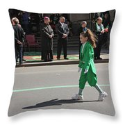 An Irish Lassie Marching In The 2009 St. Patrick Day Parade Throw Pillow